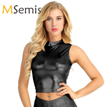 Women Crop Top Wet Look Faux Leather Top Sleeveless Mock Neck Turtleneck Crop Tank Tops Cropped Sexy Tops for Women Clubwear Top