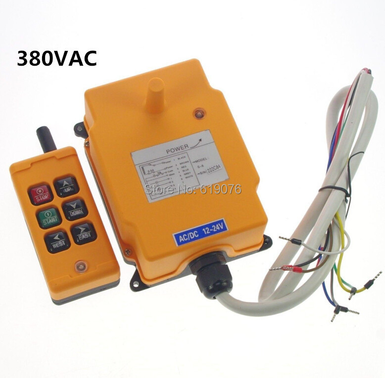 Votlage 380VAC 6 Channels Hoist Crane Radio Remote Control System
