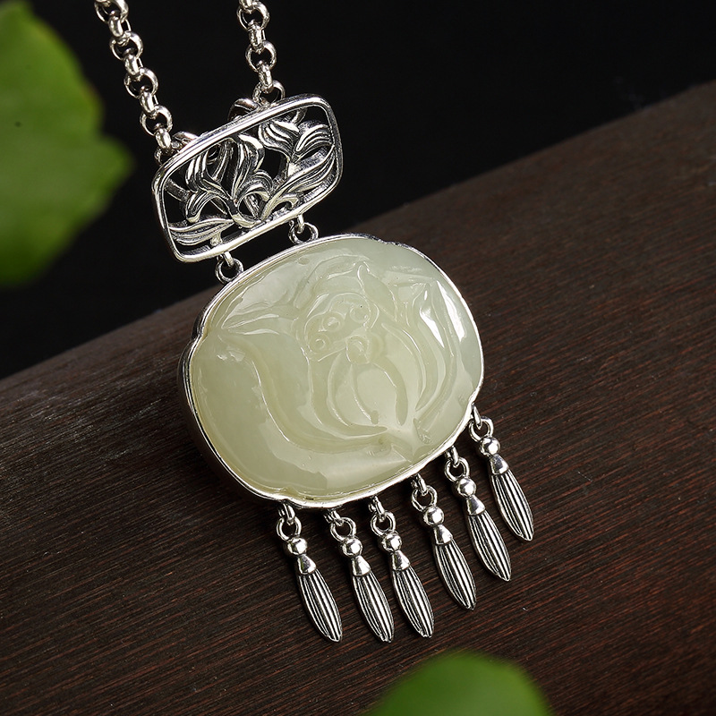 Real 2018 New S925 pure silver hetian jade white jade lotus Mosaic tassel women high-grade sweater wholesale chain pendant цена 2017