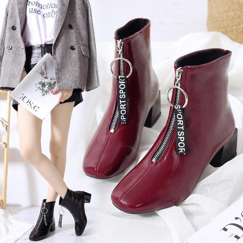 Moda black 2 Pu Cierre La 2019 De Frontal Nuevo Primavera Cremallera Tacón Zapatos rojo Cuero Botas Otoño Negro Femenino Tobillo HUURfyc