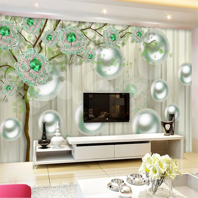 Large 3d European Pearl And Rose Jewelry Tv Background