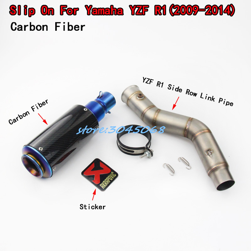 YZF Motorcycle Exhaust Full System Side Row Middle Link Pipe + Motorbike Carbon Fiber Muffler For YAMAHA R1 YZF-R1 2009-2014 chain guard for yamaha r1 2015 full carbon fiber 100