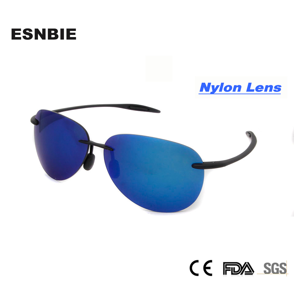 ESNBIE Rimless Sunglasses Women TR90 Memory Sun Glasses for Men Mirrored Blue Male Sunglasses Reflective oculos masculino Nylon