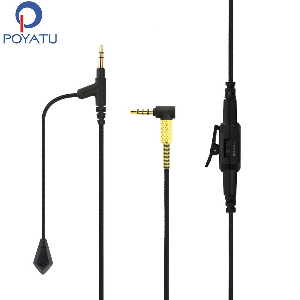 POYATU Boom Microphone Cable For Philips SHP9500 SHL5505 SHL5705 Audio Aux Cable For Gaming PS4 Xbox One With Volume Controls