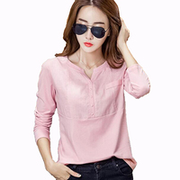 Spring Womens Clothes 2017 Ladies Linen Blouses Long Sleeves Shirts Fashion Women Clothing Cotton Blouse Plus