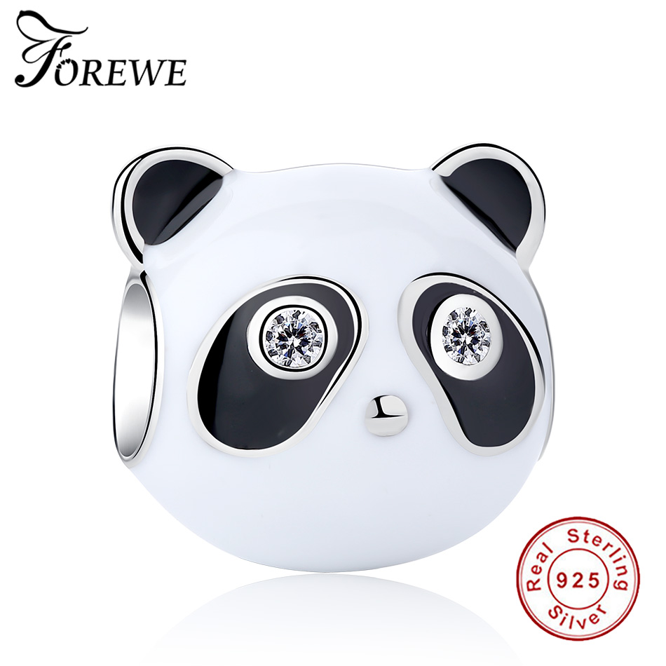 925 Sterling Silver Animal Panda Charms Beads Clear CZ Fit Authentic Pandora Charms Bracelet with Black Enamel Original Jewelry
