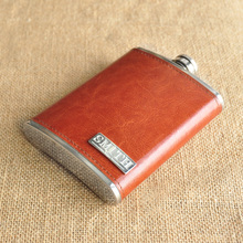 Personalized Flask Leather Groomsman Gift Fathers Day Anniversary Wedding Hip