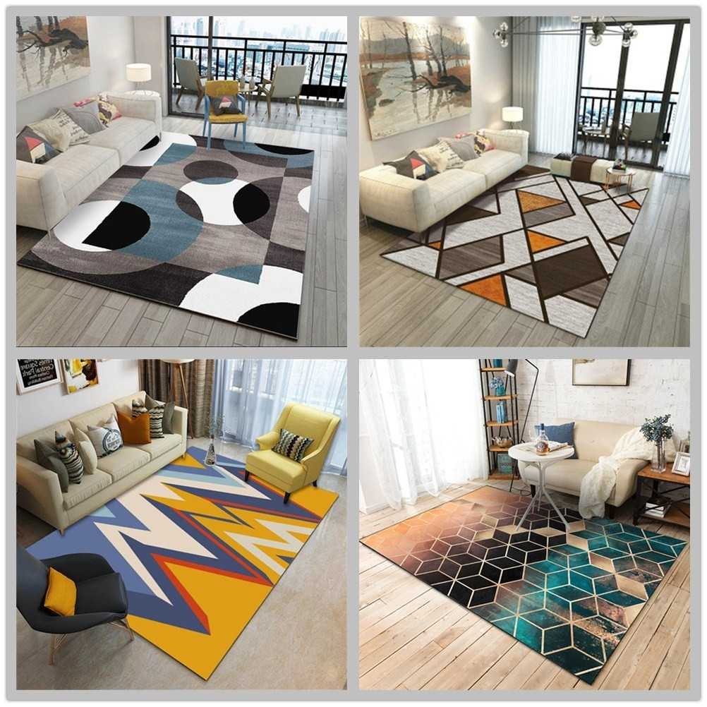 New Modern Soft Carpets For Living Room Bedroom Rugs Nordic Style Geometric Print Large Area Rug Home Carpet Floor Door Mat