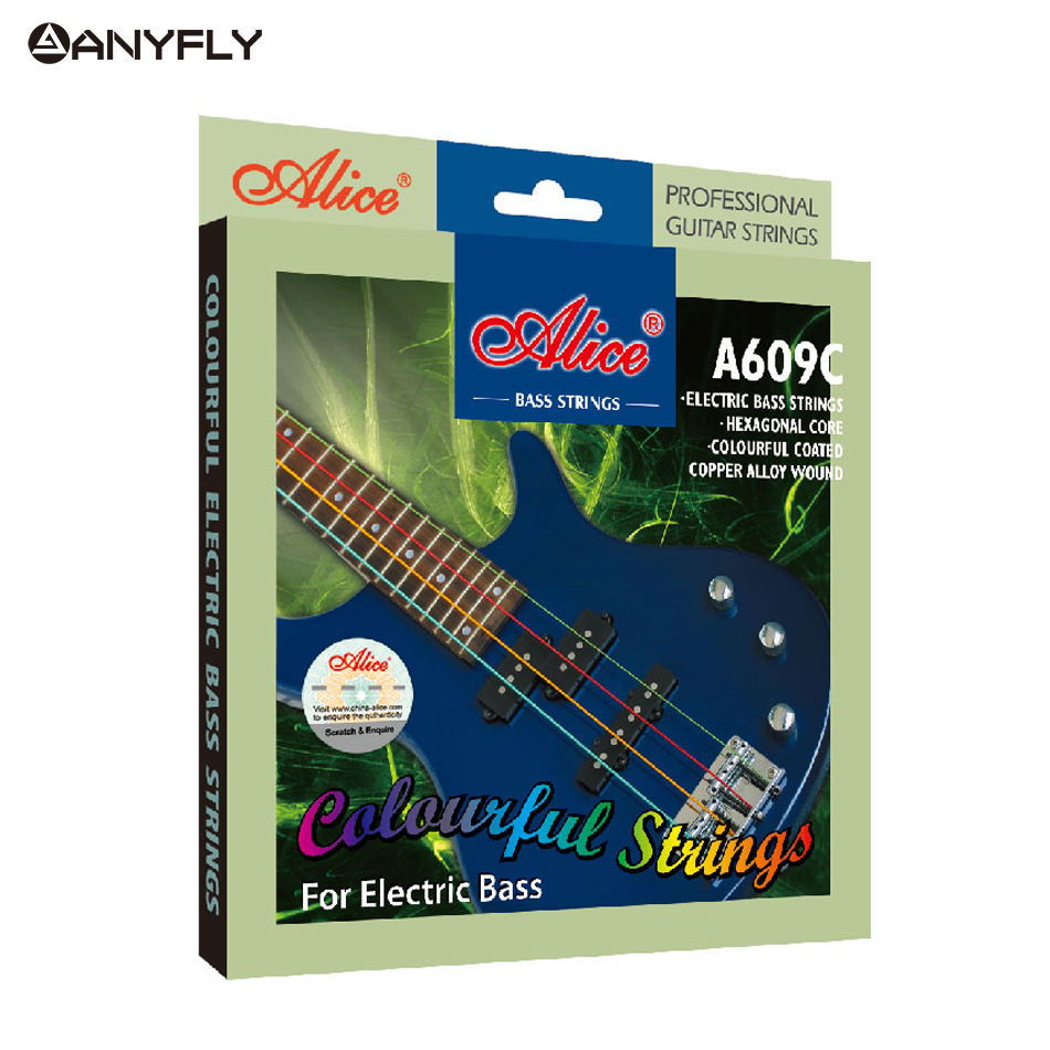 Free Shipping Professional Alice A609C Colorful Coated Copper Alloy Wound Electric Bass Strings A Set 4 Strings Wholesales alice a704 senior performance violin strings set