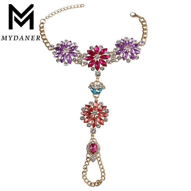 2016 New Hot Sale Fashion Anklets Statement Jewelry Multicolor Crystal Rhinestone Beads Boho Anklet Bracelets Women
