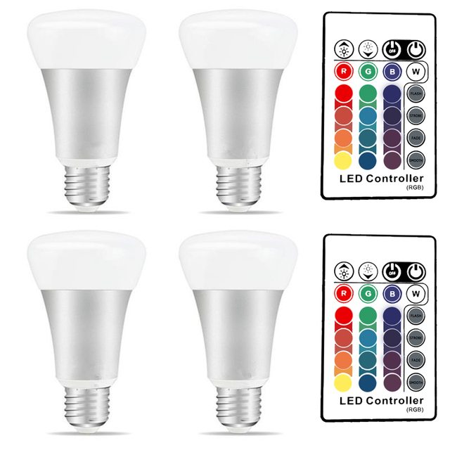 1 x 4 PCS E27 RGB LED Bulb 10W 16 Colors RGBW/ RGBWW Lamp Night Lights 24 Key IR Remote Controller 85-265V Holiday