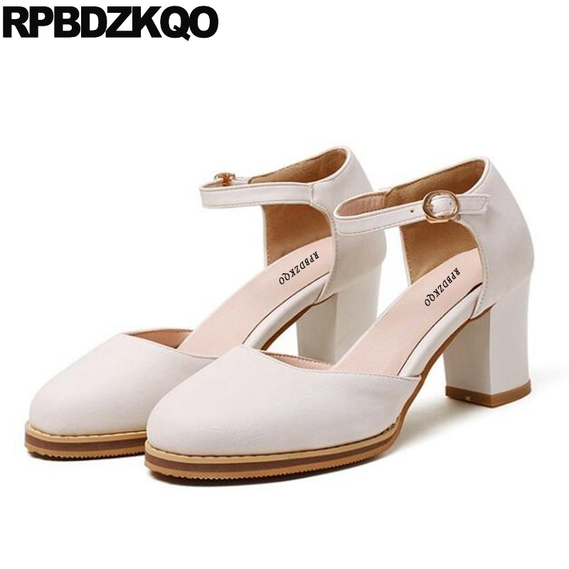 2017 Size 4 34 Round Toe Pumps Cheap Sandals 11 43 Platform Shoes Women 33 Big Closed White Ankle Strap 3 Inch High Heels Block