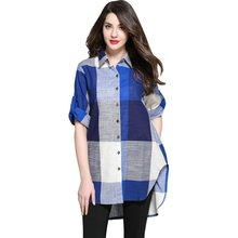 TUHAO Trendy Plaid Casual Blouses for Women Turn-down Collar Long Women's Tops 2018 Autumn Cotton Linen Shirts Female T6804