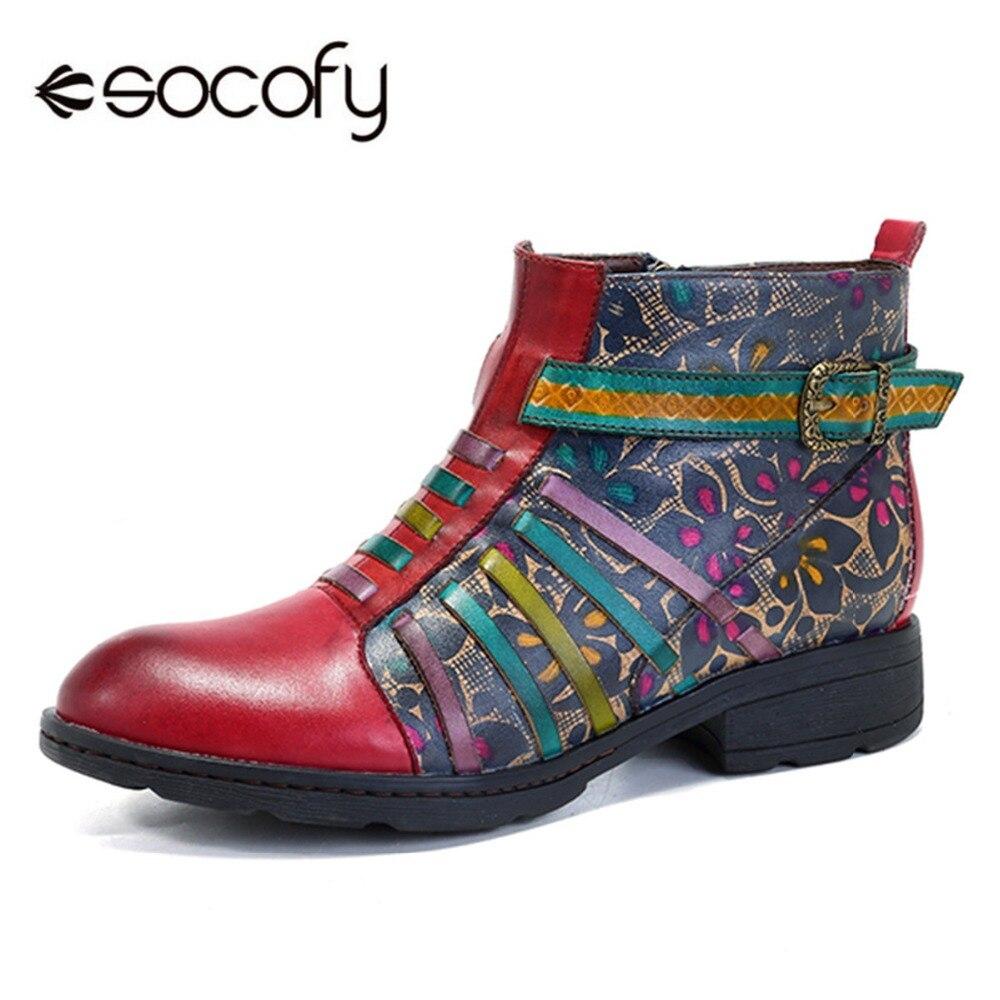 Socofy Retro buty do kostki ze skóry naturalnej damskie buty w stylu Vintage czeski wiosna jesień Zip z nadrukiem w paski buty kobieta Botas Mujer w Buty do kostki od Buty na  Grupa 1