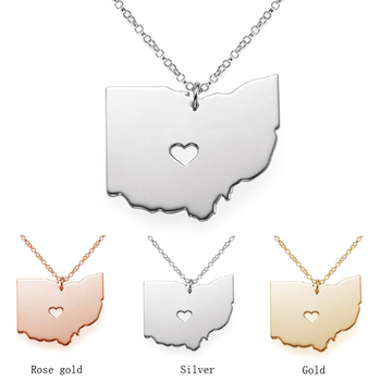 SUTEYI Ohio State Map Pendant Necklace Rose Gold Silver Color Stainless Steel Necklaces For Women image