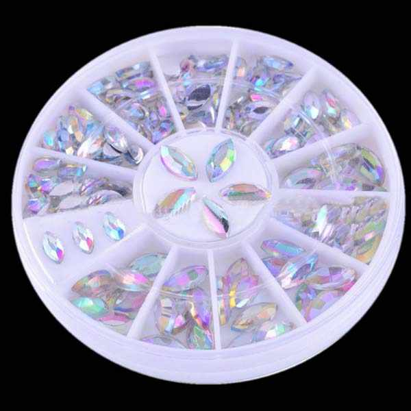 1 pudełko Opal Marquise AB kolor paznokci Rhinestone kolorowa żywica 3D mieszkanie powrót ozdoby do paznokci w koła do lakier żelowy UV