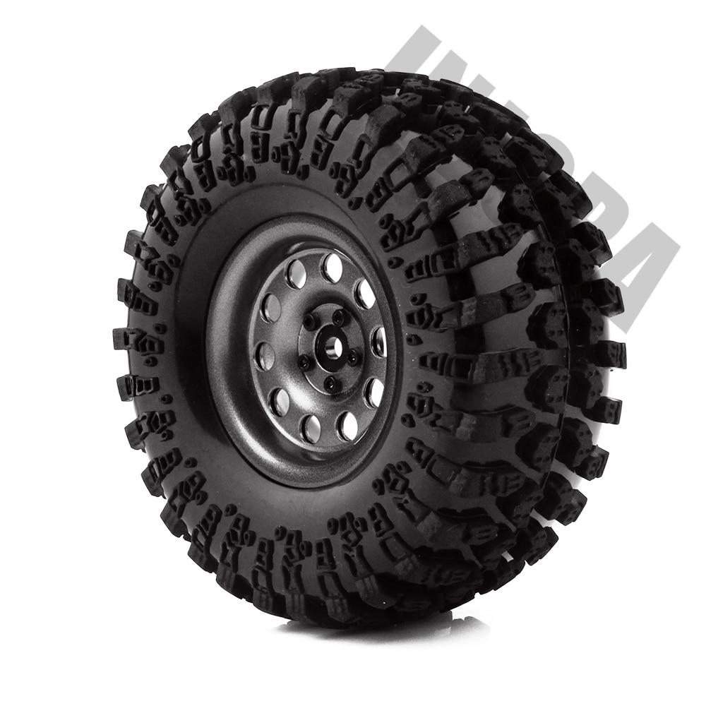 INJORA métal 4 pièces 2.2 pouces Beadlock jante et pneus de roue pour 1/10 RC chenille axiale SCX10 RR10 90053 AX10 Wraith 90056 90045 - 6