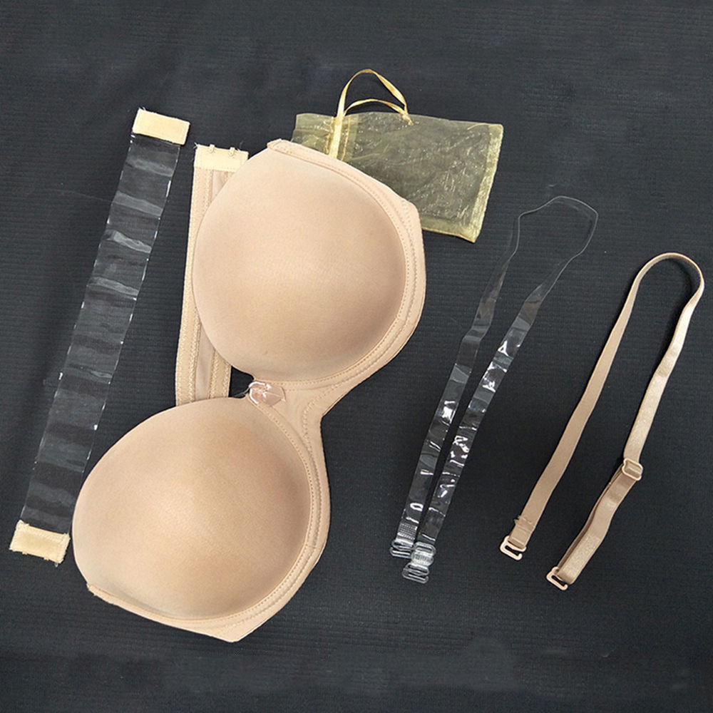 YANDW New Sexy Lingerie Push Up Bra Big Breast 1/2 Cup Plus Size Women Silicone Strapless Wed A B C D E F 70 75 80 85 90 95