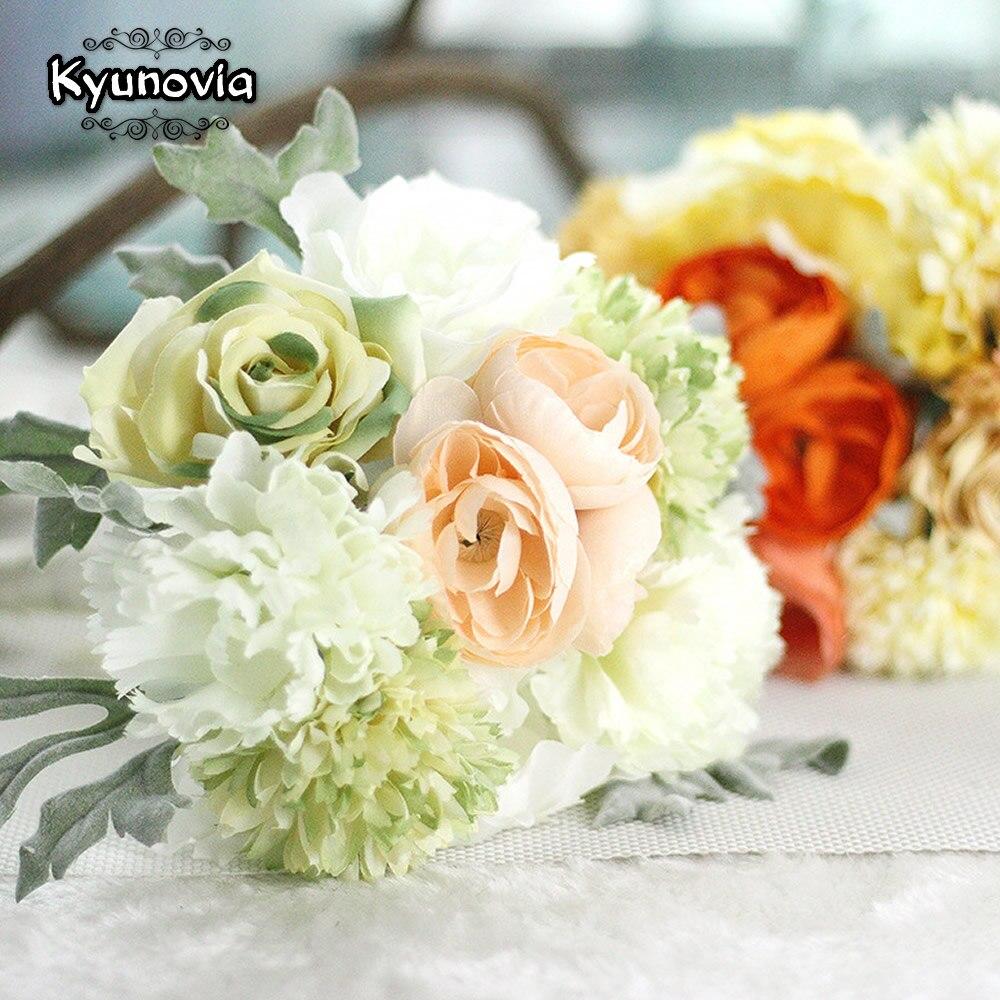 Kyunovia Wedding Accessories Silk Wild Flowers Bouquet for Wedding Plain Color Bridal Bouquet Wedding Boquet D45