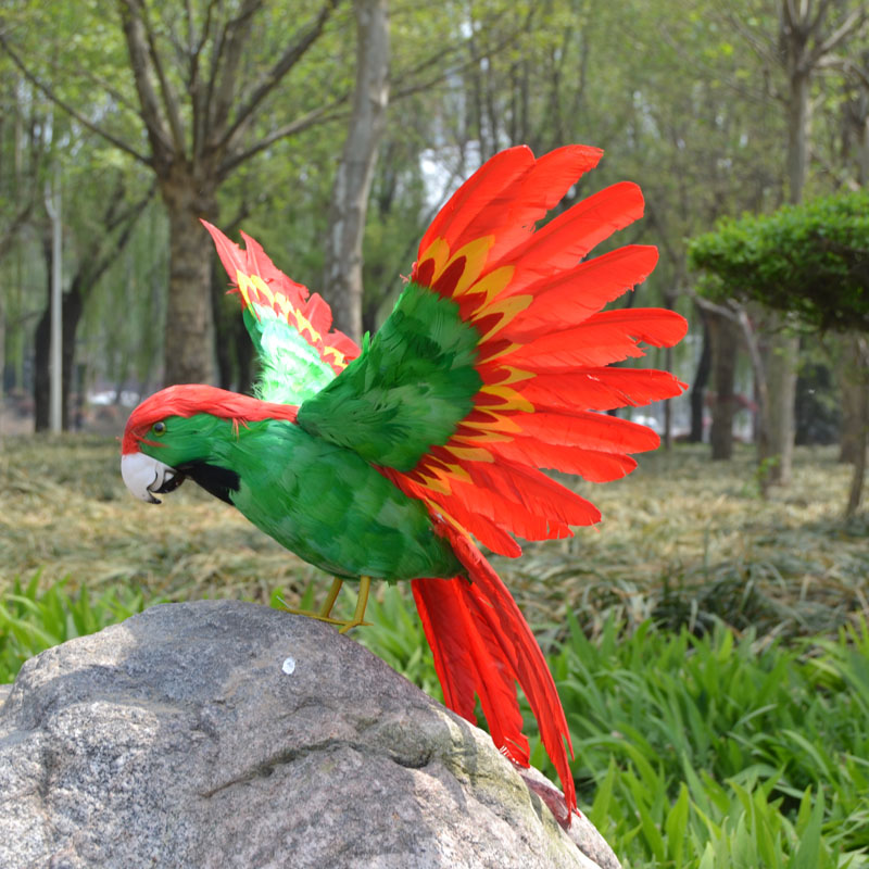 Grand 40x60 cm simulation coloré aras perroquet modèle jouet, mousse en plastique et plumes oiseau perroquet, décoration de la maison cadeau de noël w5603