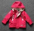 Envío libre de los niños/niños niñas chaqueta de color rosa, chaqueta impermeable ya prueba de viento, chaqueta con capucha al aire libre, tamaño 80 a 128