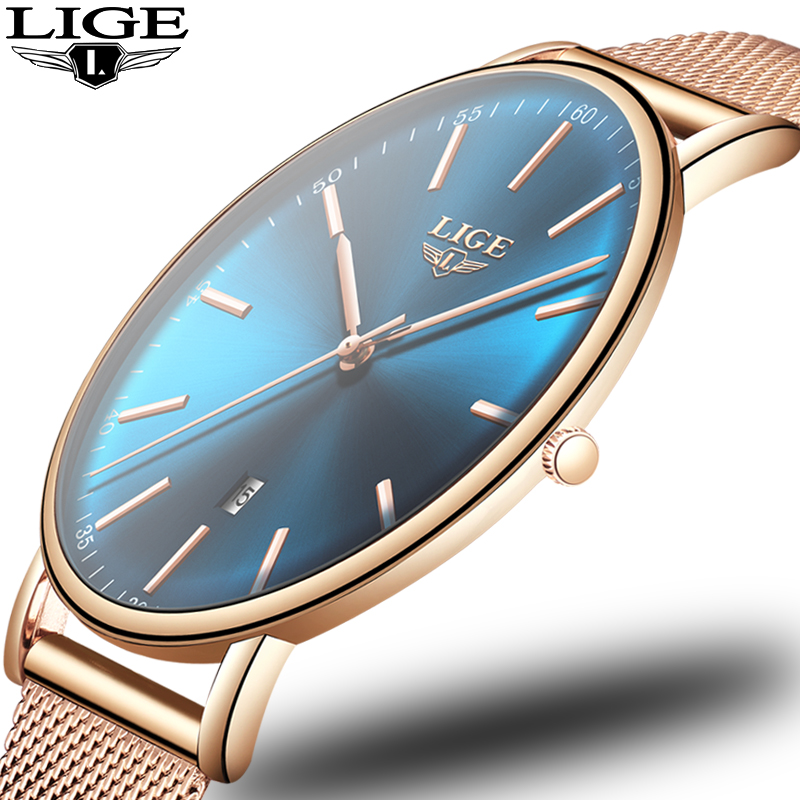 LIGE New Women Fashion Blue Quartz Watch Lady Stainless Steel Watchband High Quality Casual Waterproof Wristwatch Gift Clock+Box