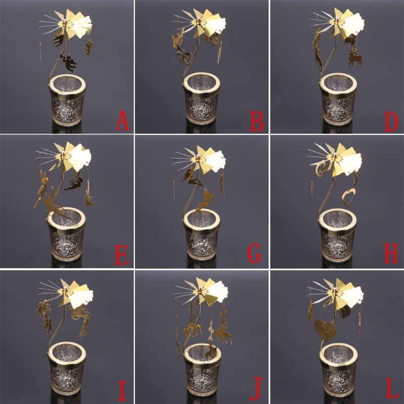 New 2021 Xmas Rotating Spinning Carousel Tea Light Candle Holder Center Home Decoration Gifts Wedding Decoration 2018