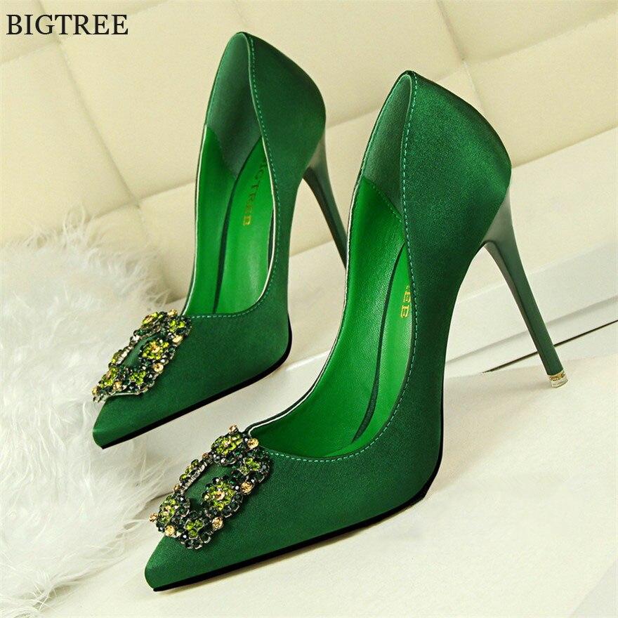 BIGTREE Women Pumps Elegant Rhinestone Silk Satin High Heels Shoes Crystal Metal Square Buckle Party Shoes Women Wedding Shoes