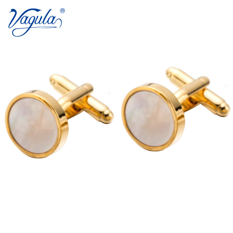 VAGULA Classic Gold-Color Plated Mother Pearl Copper Men's Cuff Link Luxury Gift Party Wedding Suit Shirt Buttons Cufflinks 718