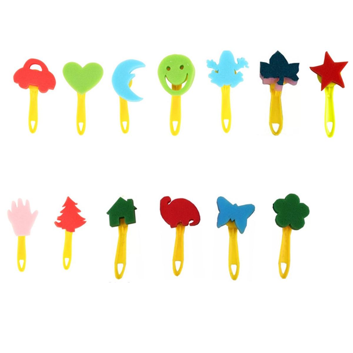 SH-RuiDu 31pcs//lot Washable Kids Early Learning Sponge Painting Brushes Kit Child Fun Painting Brushes Long Sleeve Waterproof Apron