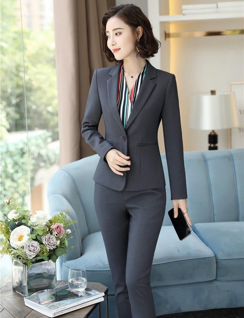 Blue Vestes Avec Pantalons Business Fit Costumes Blazers Formelle Black 2018 Slim Hiver Femme Et Femmes Automne Définit Pantalon navy Professional grey qpxR4