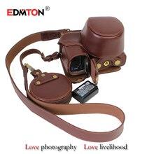 Parte inferior del cuero genuino caja de la cámara para sony a6000 a6300 cámara profesional fashional caso de cuero real medio