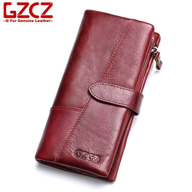 billetera GZCZ 2019 de cuero genuino de las mujeres monedero bolso de mujer de lujo de cuero de vaca mujeres bolso de bolsa de cuero genuino