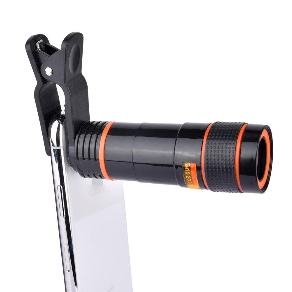 Universale 8X/12X Zoom Telescope Camera Lens Clip Per Il Telefono di Lettura Dell'occhio Lontano