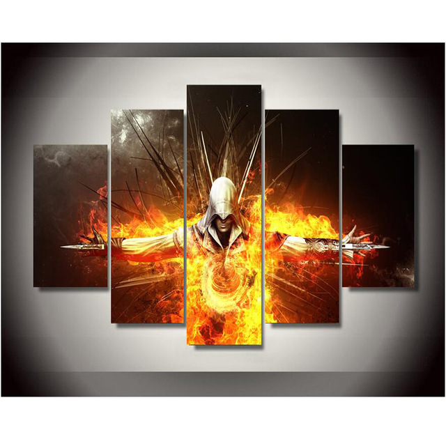 5 piece Canvas Painting Assassins Creed Game Spray Home Decor for Living Room HD Printed image