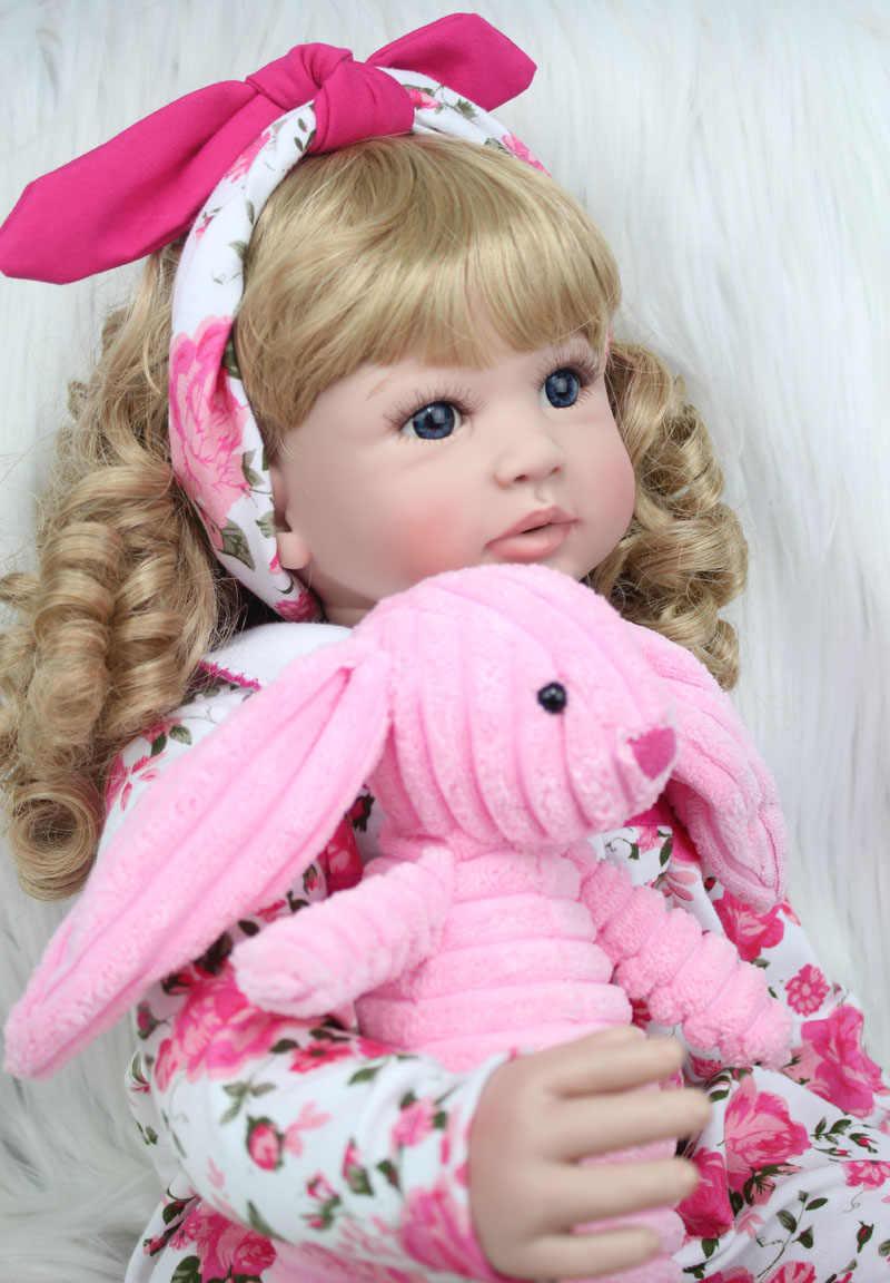 60cm 24 polegada Vinil Silicone Renascer Boneca Brinquedos Do Bebê Da Princesa Da Criança Meninas Bebês Bonecas Com Coelho de Pelúcia de Presente de Aniversário brincar de Casinha