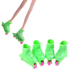 Hot 2 Pairs /set Cute Roller Skate Fancy Doll Shoes Toys Fit For Dolls Kids Girls Toy Roller Play House Doll Accessories(China)