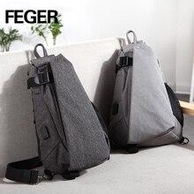 Купить с кэшбэком FEGER chest bag Men's  male School Bag For Teenagers Laptop  Men Travel Bags Large Capacity USB charge port