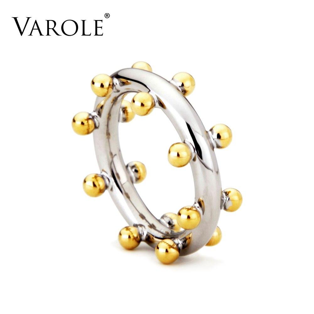 VAROLE Doppel Row Ball Anordnung Ringe Gold Farbe Midi Ring 100% Kupfer Ring Knuckle Ringe Für Frauen anel Schmuck
