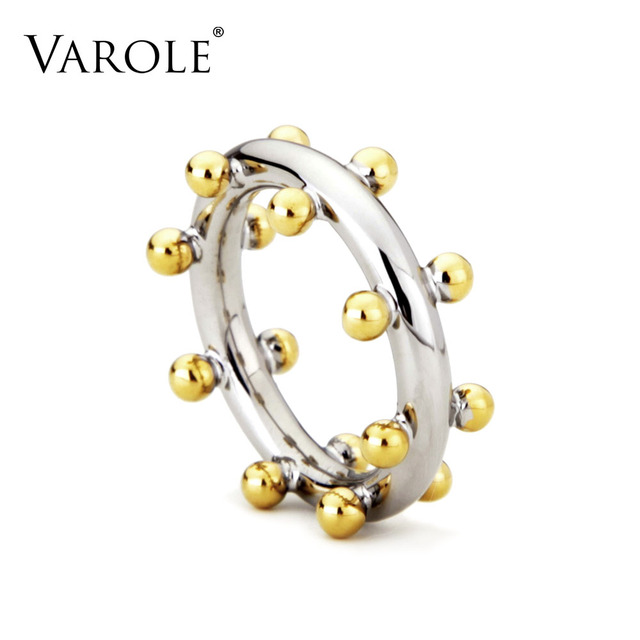 VAROLE Double Row Ball Arrangement Rings Gold Color Midi Ring 100% Copper Ring K