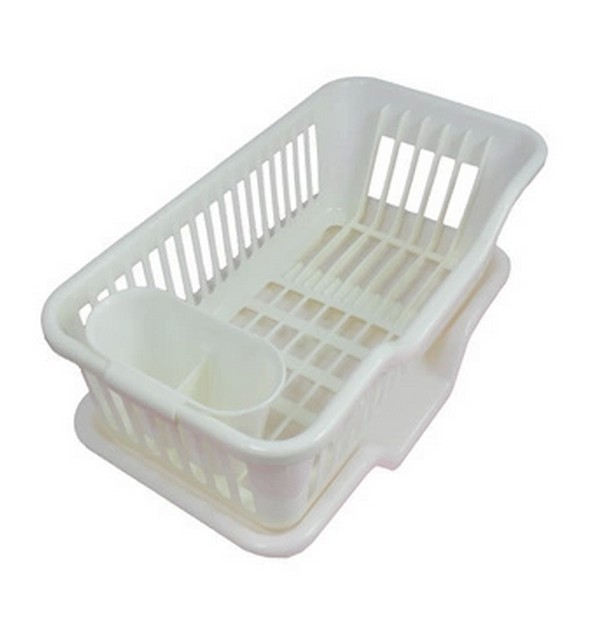 Plastic Dish Plate Spoon Rack Holder Drainer Drain Board Tray Kitchen Accessories Storage Organizer White