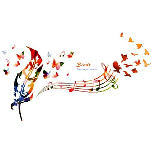 Wall Decorations Romantic Music Notes Feather Art Decals Butterfly Bird 3d Vinyl Stickers Home Living Room
