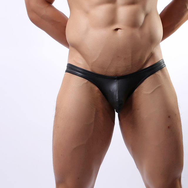 Fashion Black Nylon Faux Leather Men Sexy Skinny Big Pouch Briefs Panties Gay Male Jockstrap