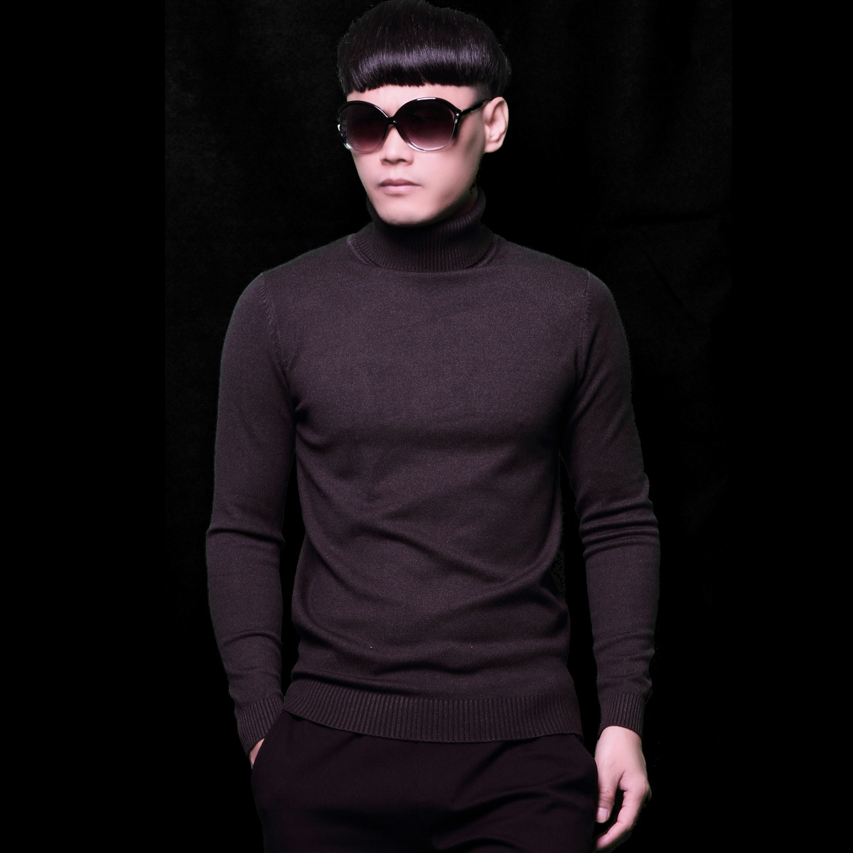 Boys Purple Sweaters Mens Winter Long Sleeve Sweater Slim Pullovers Plus Size Male Knitwear Minimalist Casual Knitted Turtleneck