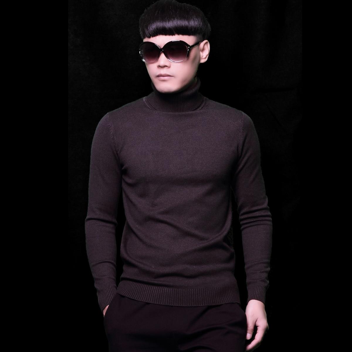 Boys Purple Sweaters Mens Winter Long Sleeve Sweater Slim Pullovers Plus Size Male Knitwear Minimalist Casual Knitted Turtleneck
