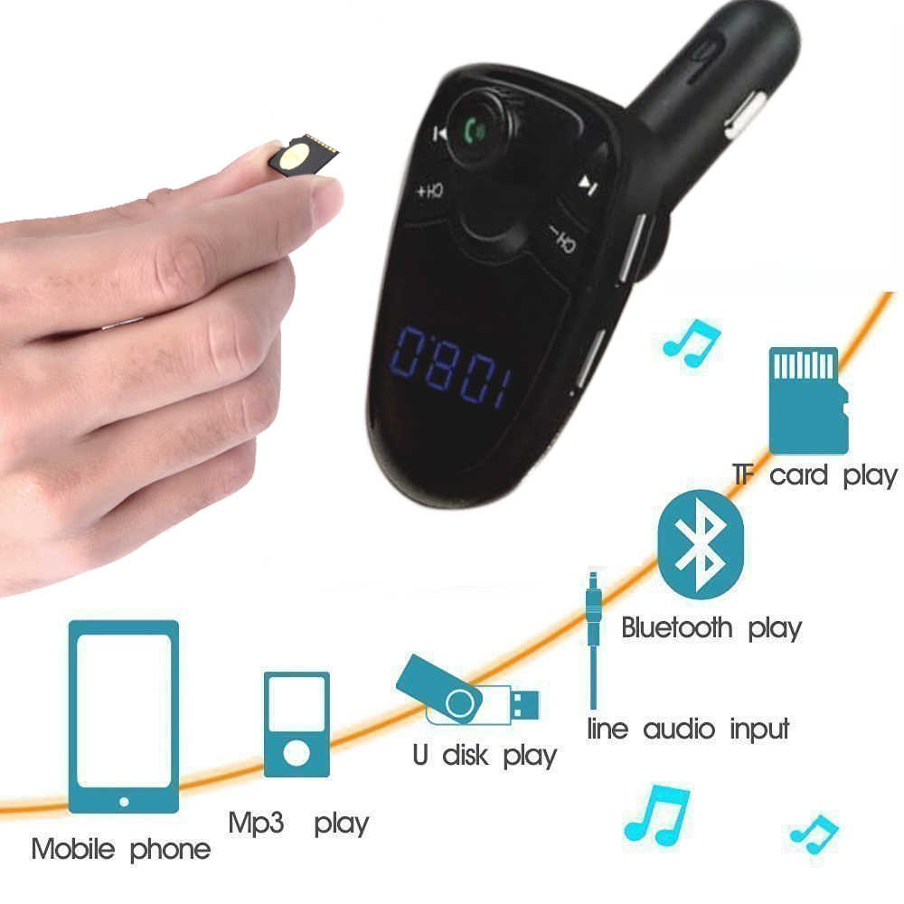 Wireless Bluetooth Car Kit MP3 Player FM Transmitter Wireless Radio Adapter USB Quick Car Charger for Smartphone Iphone dfdf