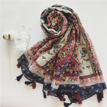 Large Soft Viscose Retro Flower Tassel Scarf Small Floral Print for Women Bohemian Style Summer Beach Sunscreen Scarf  XS021