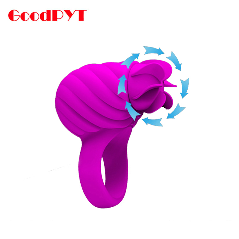360 Degree Tongue Licking Toy Silicone Rotating Teaser Cock Ring Vibrating Penis Ring Delay Ejaculation USB Rechargeable