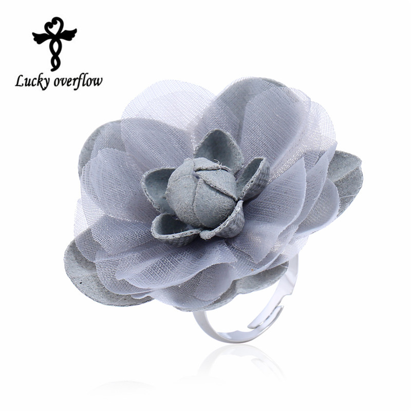 2018 Fashion Cute Romantic Style Stainless Steel Rings For Women Fabric Gray Big Flower  ...