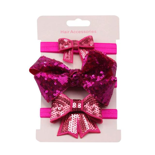MUQGEW headbands for baby 3Pcs Kids Elastic Floral Sequin Headband Hair Girls baby Bowknot girls hair accessories Hairband Set